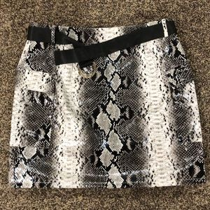 faux leather white snakeskin PLT mini skirt
